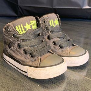 High Top Converse All Star Grey/ Green Kids - SZ 5